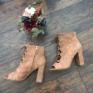 Sam Edelman yvie tan lace up heels leather suede